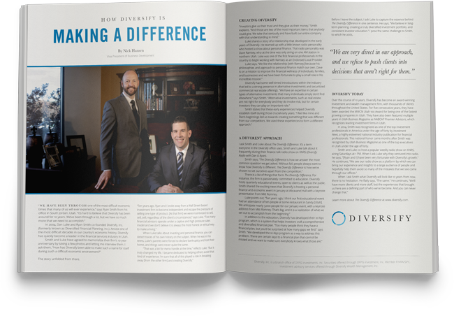 Diversify being featured in the October 2014 issue of Utah Business Magazine